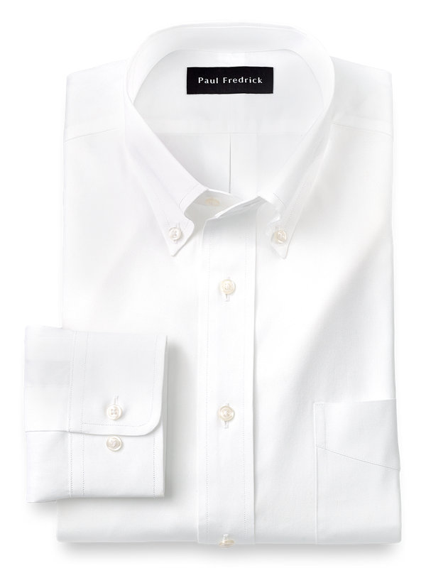 Pure Cotton Pinpoint Solid Color Button Down Collar Dress Shirt