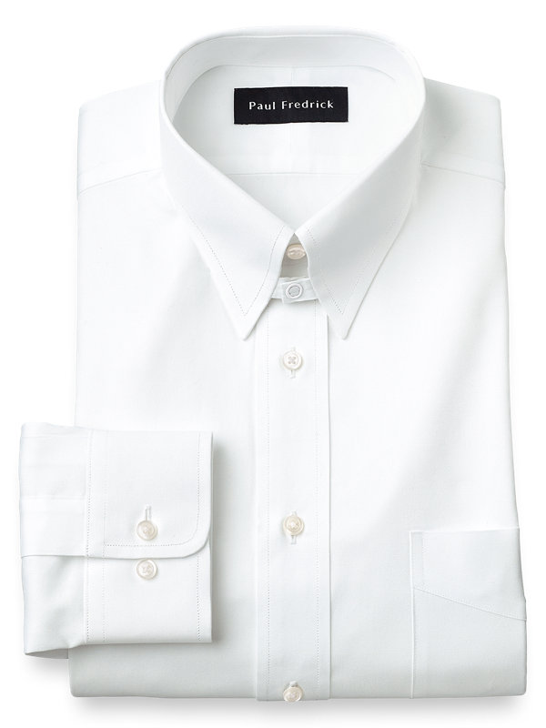 Pure Cotton Pinpoint Solid Color Snap Tab Collar Dress Shirt