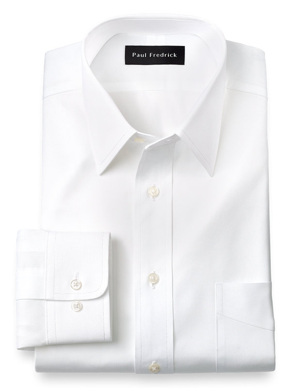Pure Cotton Pinpoint Solid Color Straight Collar Dress Shirt