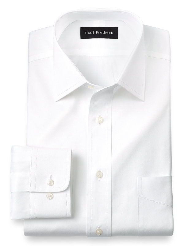 Pure Cotton Pinpoint Solid Color Spread Collar Dress Shirt