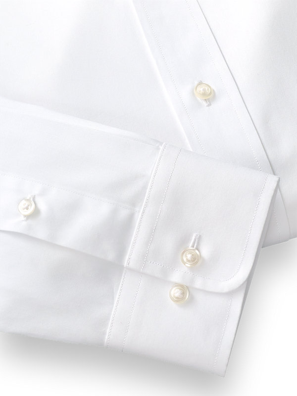 Pure Cotton Broadcloth Solid Color Straight Collar Dress Shirt