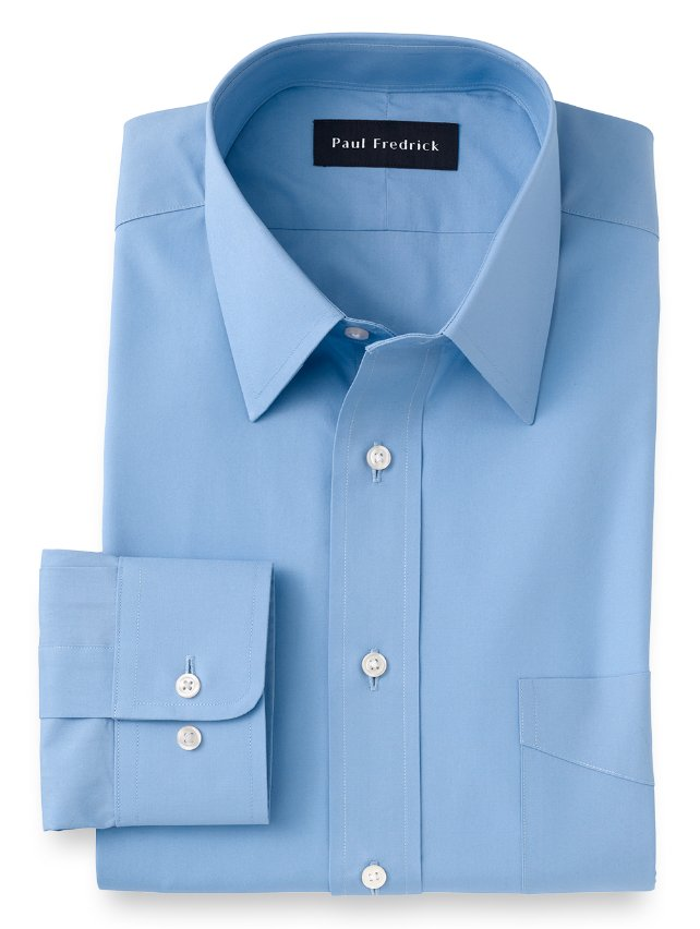 Cotton Broadcloth Straight Collar Dress Shirt