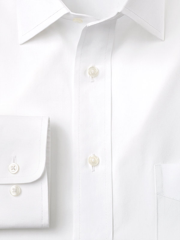 Pure Cotton Broadcloth Solid Color Spread Collar Dress Shirt