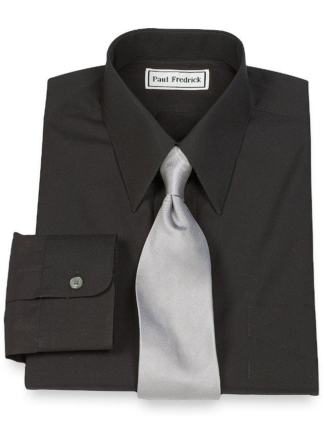 Cotton Broadcloth Edge-Stitched Straight Collar Dress Shirt