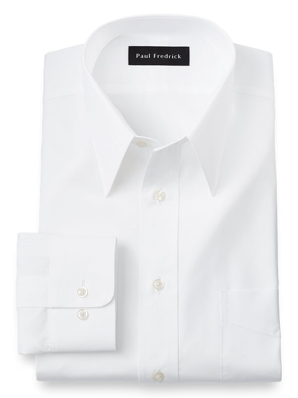 Pure Cotton Broadcloth Solid Color Edge-Stitched Straight Collar Dress Shirt