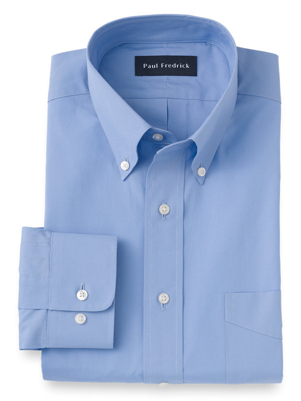 Pure Cotton Broadcloth Solid Color Button Down Collar Dress Shirt