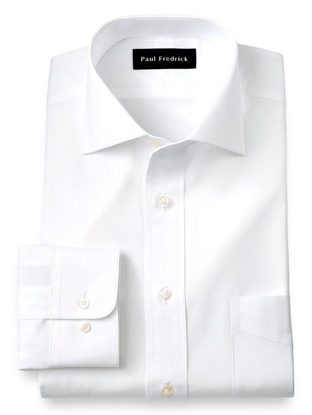 Cotton Broadcloth Cutaway Spread Collar Dress Shirt