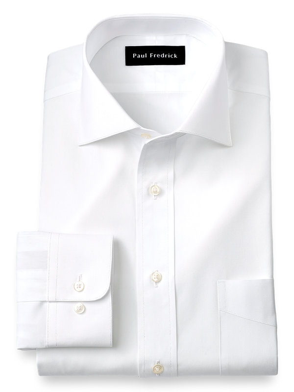 Pure Cotton Broadcloth Solid Color Cutaway Spread Collar Dress Shirt