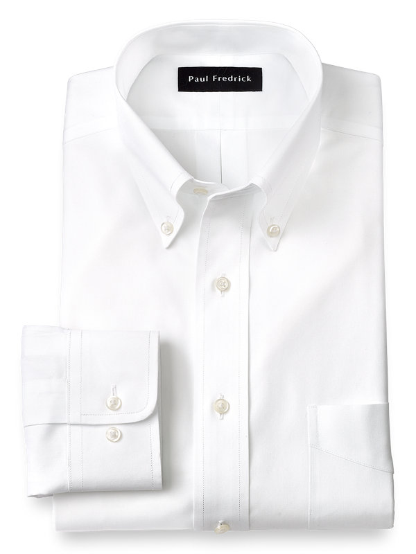 Non-Iron Cotton Pinpoint Solid Color Button Down Collar Dress Shirt