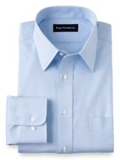 Non-Iron Cotton Pinpoint Solid Color Straight Collar Dress Shirt