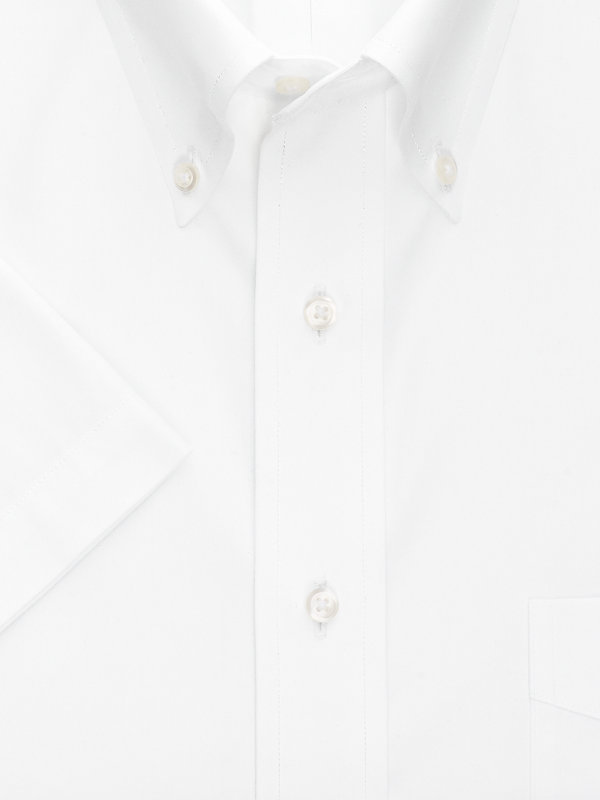 Non-Iron Cotton Pinpoint Solid Color Button Down Collar Short Sleeve Dress Shirt