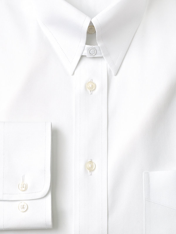 Non-Iron Cotton Pinpoint Solid Color Snap Tab Collar Dress Shirt