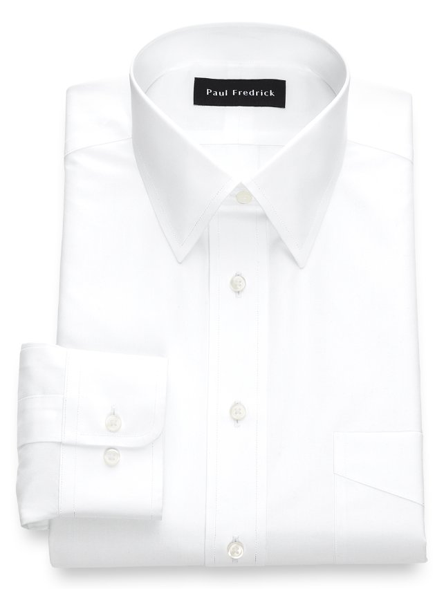 Non-Iron Cotton Broadcloth Straight Collar Dress Shirt
