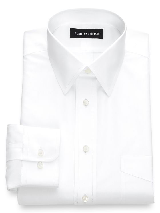 Non-Iron Cotton Broadcloth Solid Color Straight Collar Dress Shirt