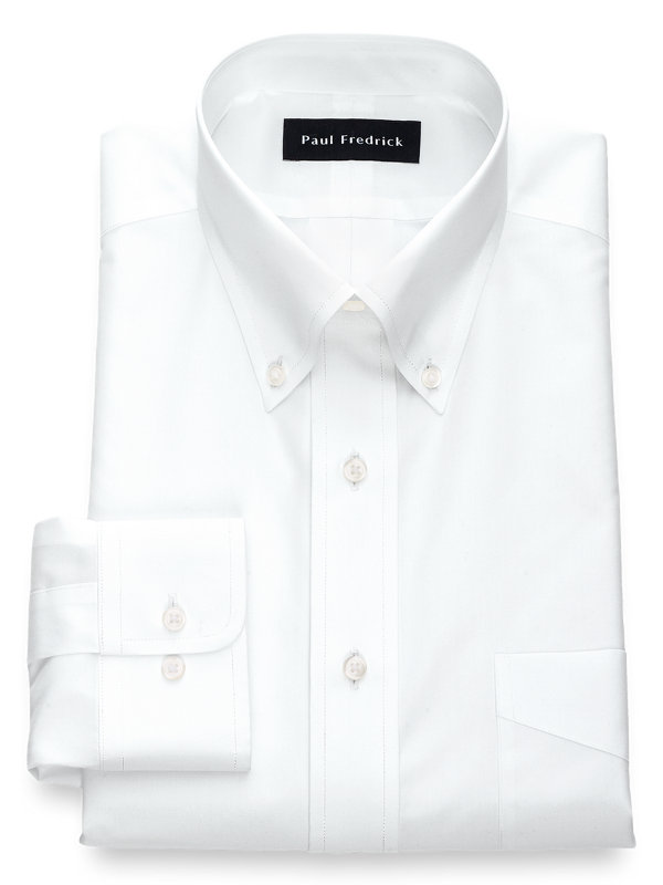 Non-Iron Cotton Broadcloth Solid Color Button Down Collar Dress Shirt