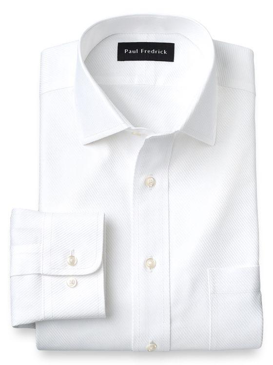 Non-Iron Cotton Solid Color Twill Spread Collar Dress Shirt