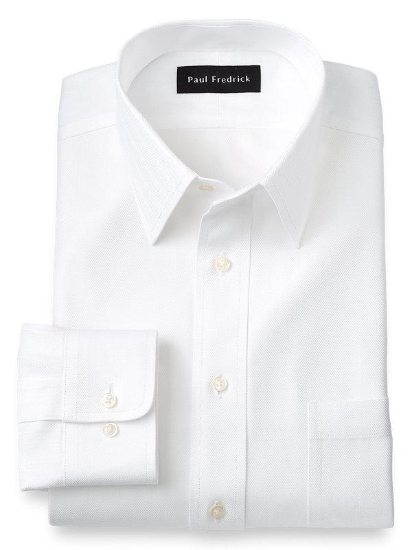 Non-Iron Cotton Solid Color Herringbone Straight Collar Dress Shirt