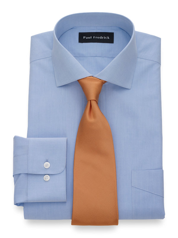 Non-Iron Cotton Broadcloth Solid Color Cutaway Spread Collar Dress Shirt