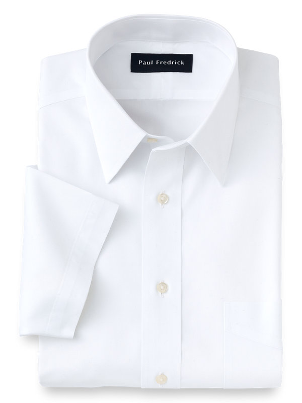 Non-Iron Cotton Pinpoint Solid Straight Collar Short Sleeve Dress Shirt