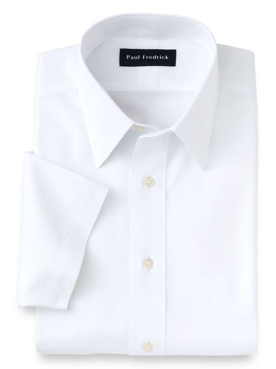 Non-Iron Cotton Pinpoint Solid Color Straight Collar Short Sleeve Dress Shirt
