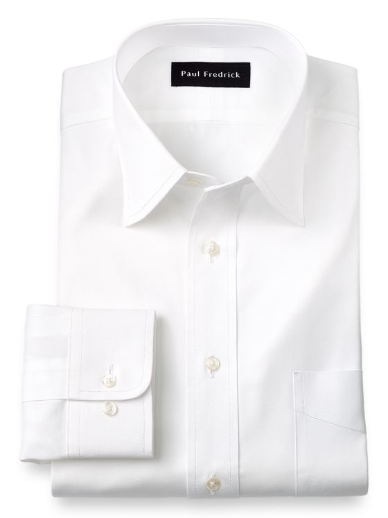 Pure Cotton Pinpoint Solid Color Varsity Spread Collar Dress Shirt