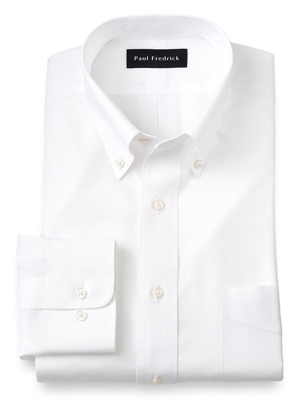 Impeccable Non-Iron Cotton Pinpoint Solid Color Button Down Collar Dress Shirt