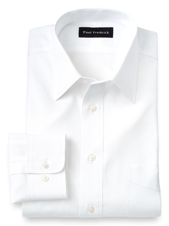 Impeccable Non-Iron Cotton Pinpoint Solid Color Straight Collar Dress Shirt