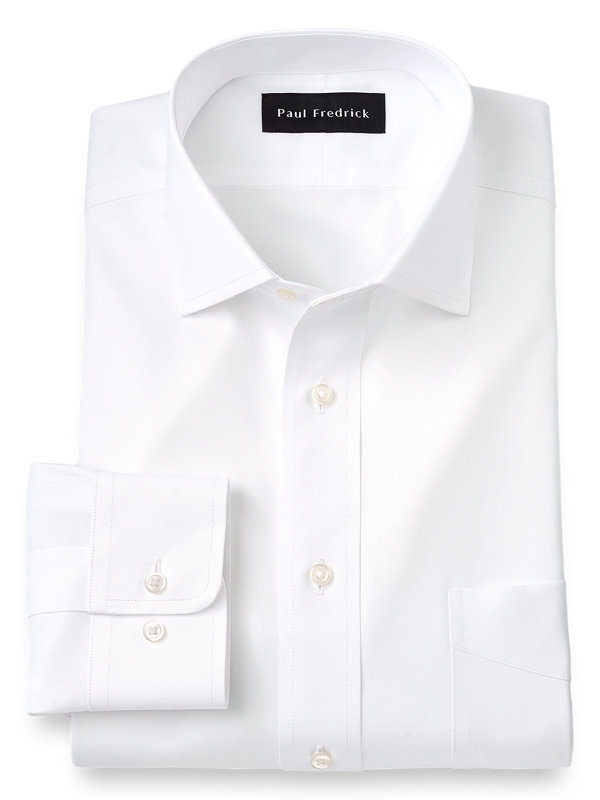 Impeccable Non-Iron Cotton Pinpoint Solid Color Spread Collar Dress Shirt