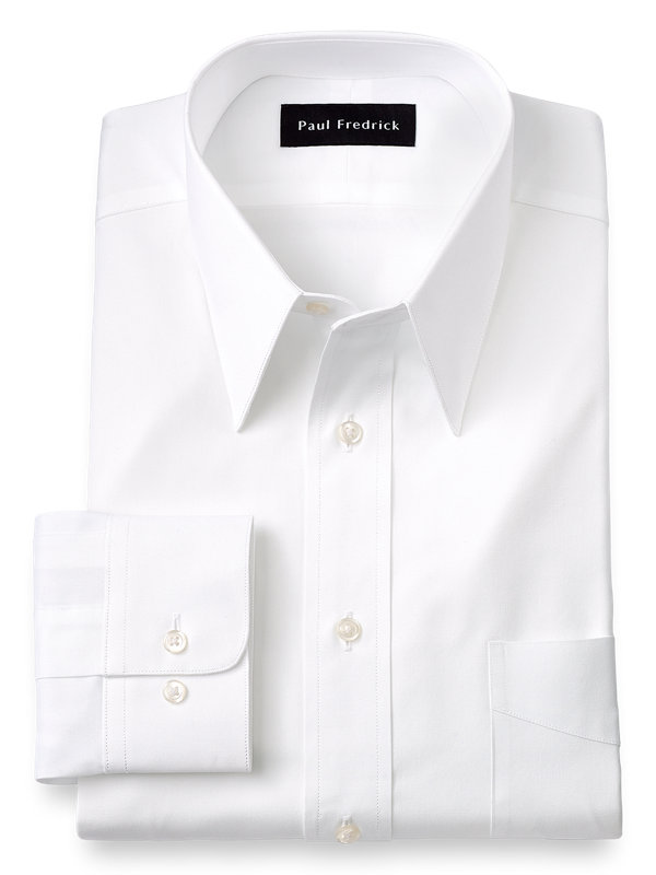 Pure Cotton Pinpoint Solid Color Edge-Stitched Straight Collar Dress Shirt