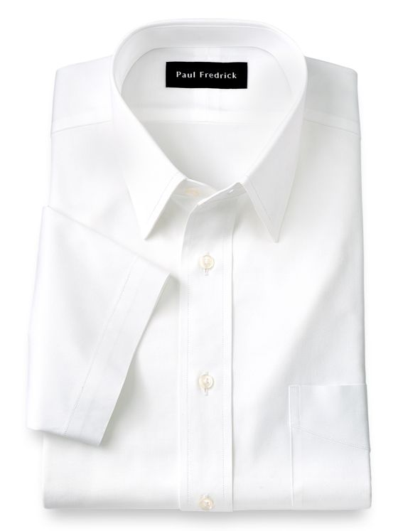 Pure Cotton Pinpoint Solid Color Straight Collar Short Sleeve Dress Shirt