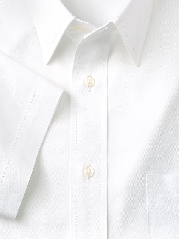 Slim Fit Pure Cotton Pinpoint Solid Straight Collar Short Sleeve Dress Shirt