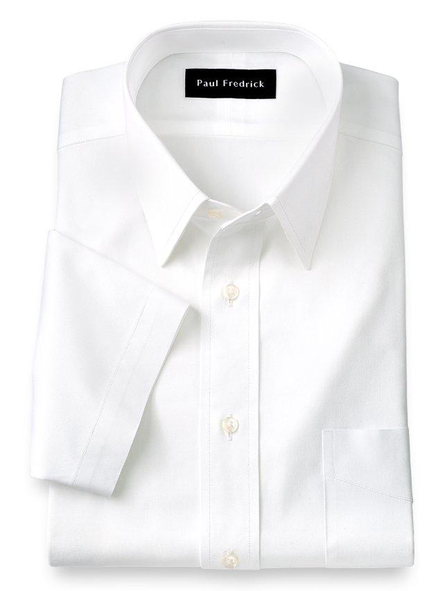Cotton Pinpoint Oxford Straight Collar Short Sleeve Dress Shirt