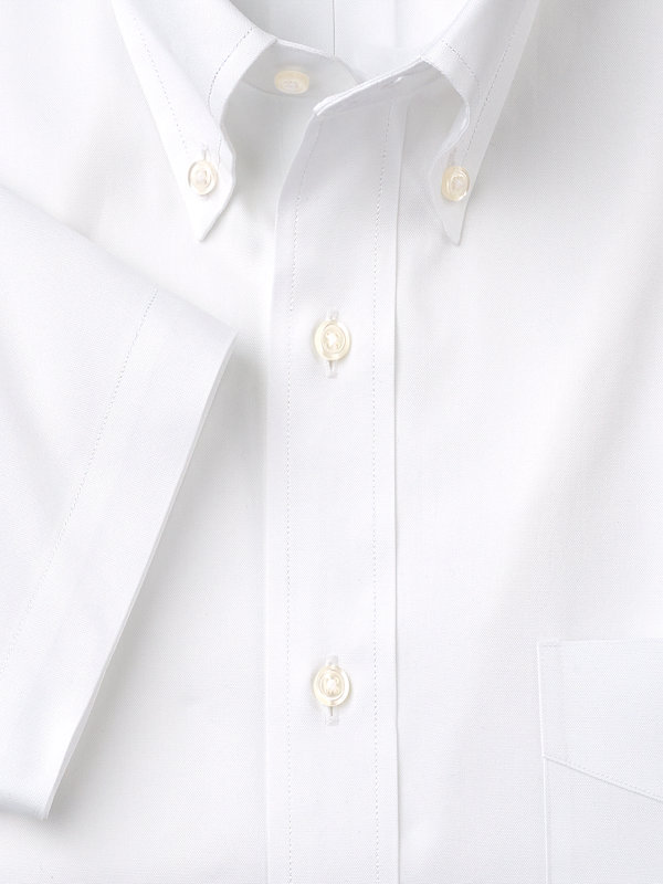 Pure Cotton Pinpoint Solid Color Button Down Collar Short Sleeve Dress Shirt
