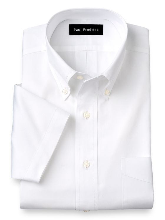 Slim Fit Cotton Pinpoint Solid Button Down Collar Short Sleeve Dress Shirt