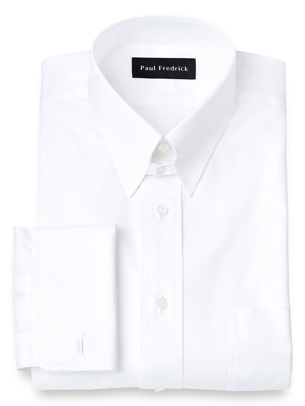 Pure Cotton Pinpoint Solid Color Snap Tab Collar French Cuff Dress Shirt