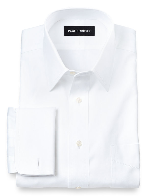 Pure Cotton Pinpoint Solid Color Straight Collar French Cuff Dress Shirt