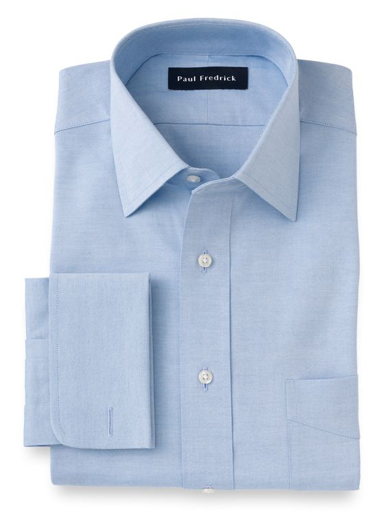 Pure Cotton Pinpoint Solid Color Spread Collar French Cuff Dress Shirt