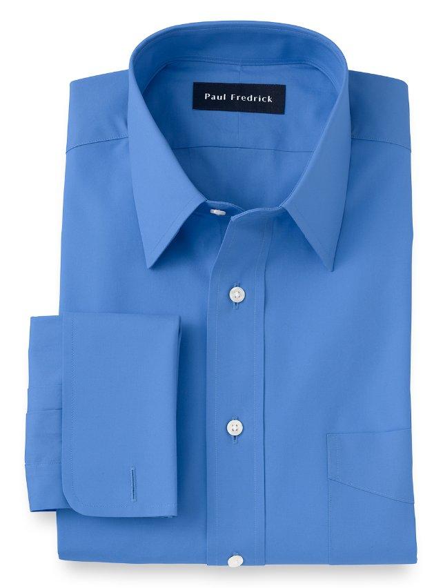 Cotton Broadcloth Straight Collar French Cuff Dress Shirt