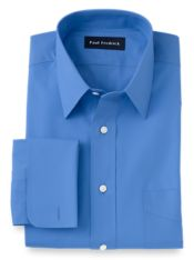 Pure Cotton Broadcloth Solid Color Straight Collar French Cuff Dress Shirt