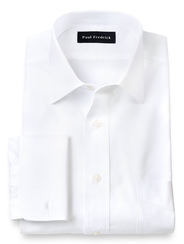 Cotton Broadcloth Windsor Spread Collar French Cuff Dress Shirt