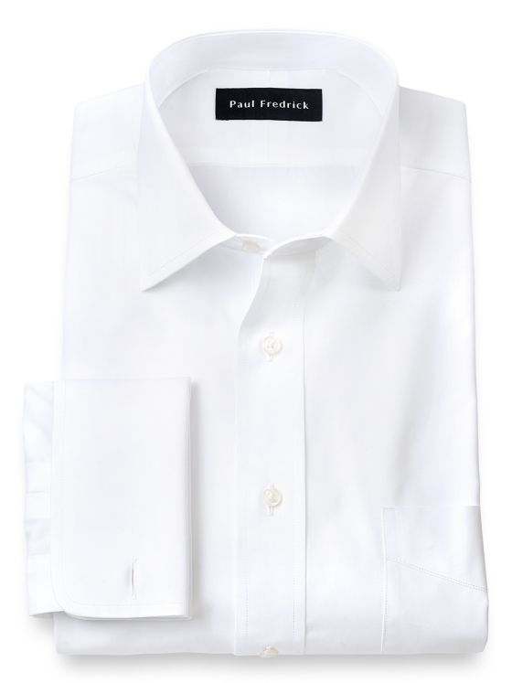 Pure Cotton Broadcloth Solid Color Spread Collar French Cuff Dress Shirt