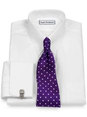 Pure Cotton Broadcloth Solid Color Snap Tab Collar French Cuff Dress Shirt