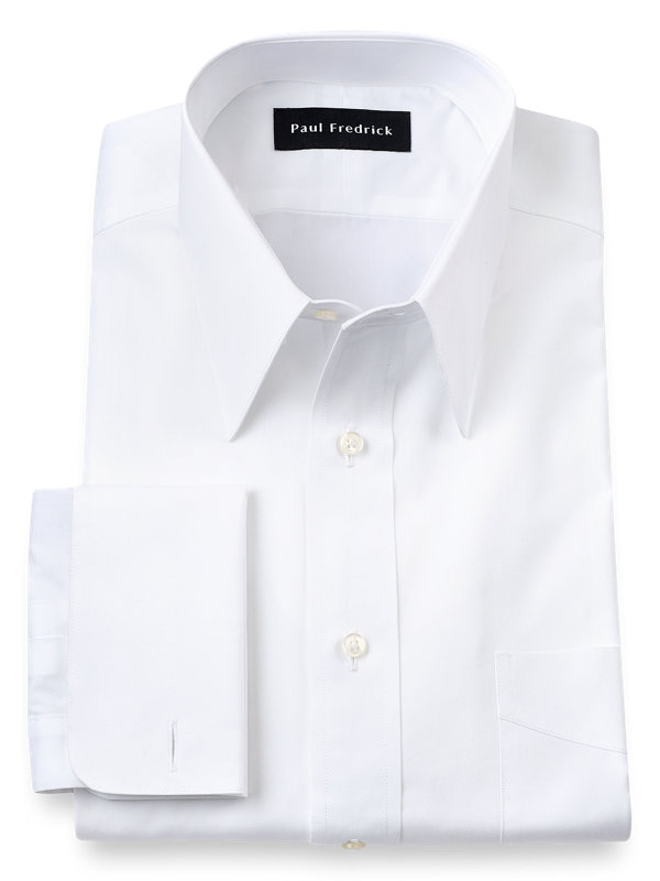 Pure Cotton Broadcloth Edge-Stitched Straight Collar French Cuff Dress Shirt