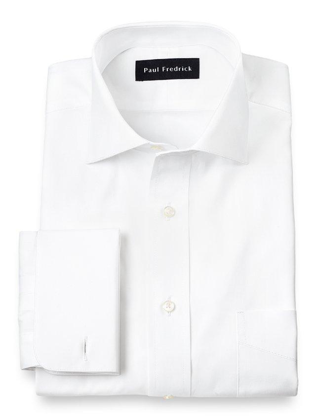 Cotton Broadcloth Cutaway Spread Collar French Cuff Dress Shirt