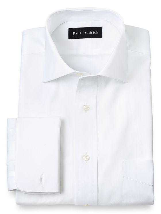 Pure Cotton Broadcloth Solid Color Cutaway Spread Collar French Cuff Dress Shirt