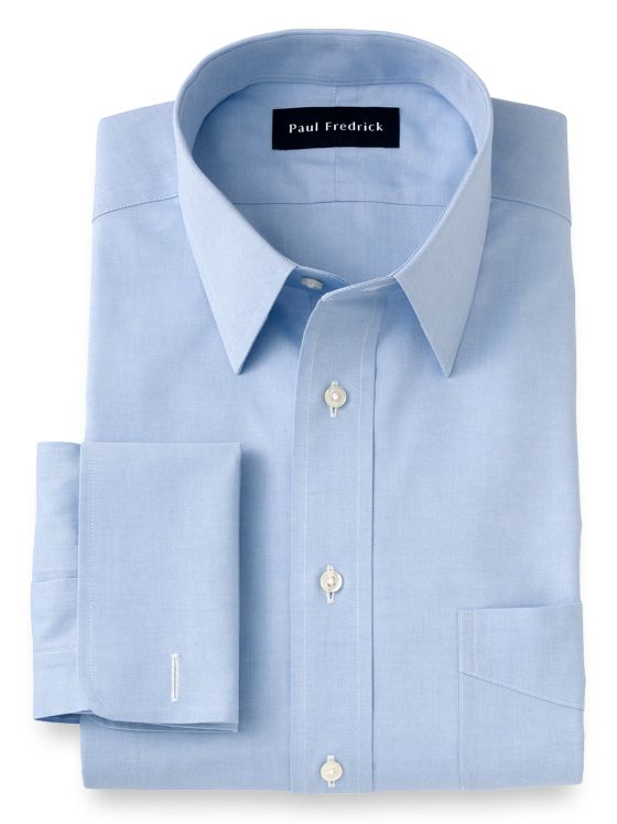 Non-Iron Cotton Pinpoint Solid Color Straight Collar French Cuff Dress Shirt