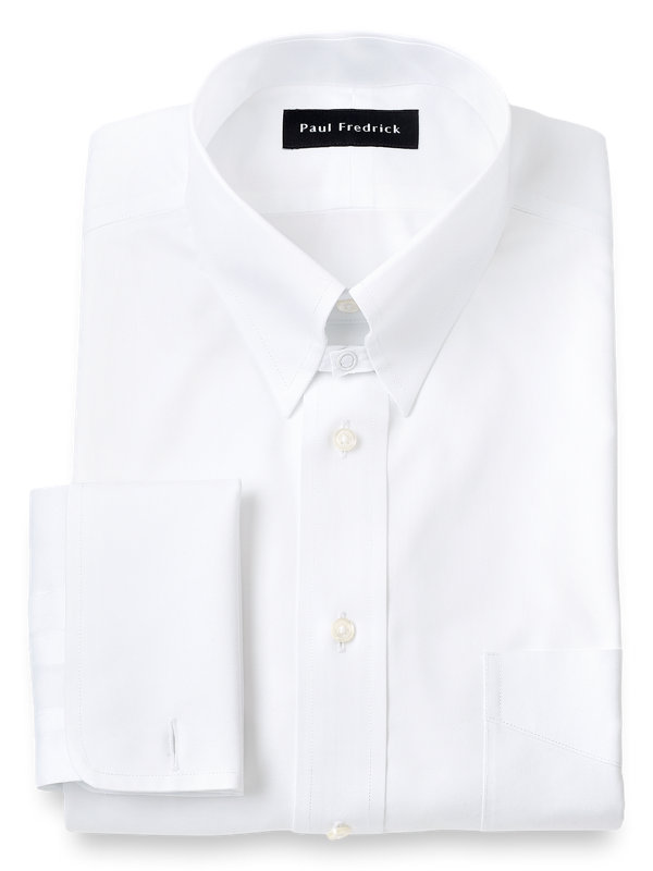 Non-Iron Cotton Pinpoint Solid Color Snap Tab Collar French Cuff Dress Shirt