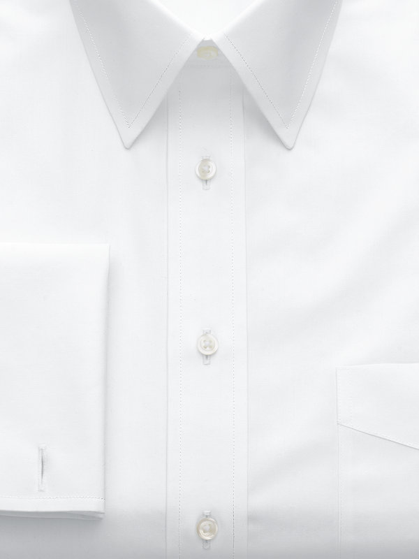 Non-Iron Cotton Broadcloth Solid Color Straight Collar French Cuff Dress Shirt