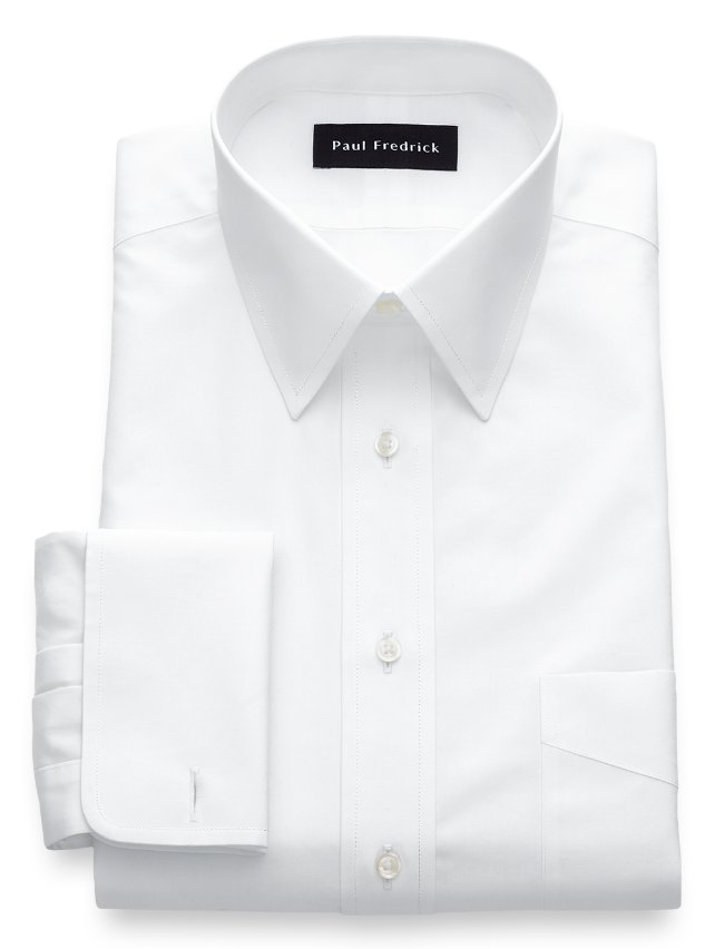 Non-Iron Cotton Broadcloth Straight Collar French Cuff Dress Shirt