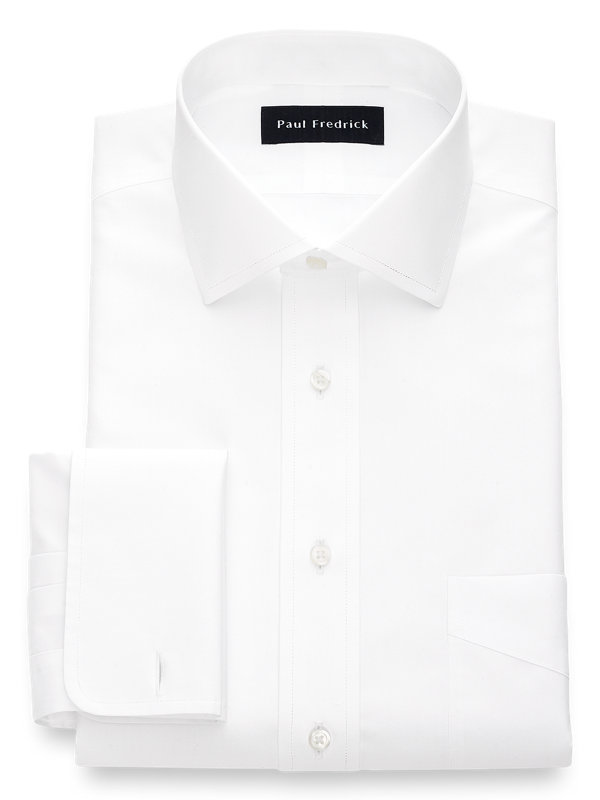 Non-Iron Cotton Broadcloth Solid Color Spread Collar French Cuff Dress Shirt